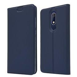Ultra Slim Card Magnetic Automatic Suction Leather Wallet Case for Nokia 5.1 - Royal Blue