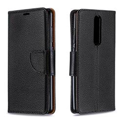 Classic Luxury Litchi Leather Phone Wallet Case for Nokia 5.1 - Black