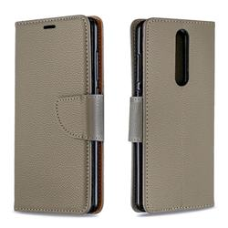 Classic Luxury Litchi Leather Phone Wallet Case for Nokia 5.1 - Gray