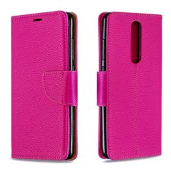 Classic Luxury Litchi Leather Phone Wallet Case for Nokia 5.1 - Rose