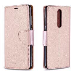 Classic Luxury Litchi Leather Phone Wallet Case for Nokia 5.1 - Golden
