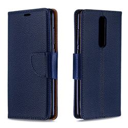 Classic Luxury Litchi Leather Phone Wallet Case for Nokia 5.1 - Blue