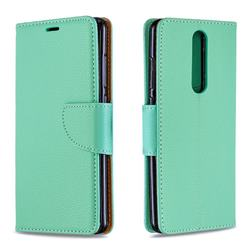 Classic Luxury Litchi Leather Phone Wallet Case for Nokia 5.1 - Green