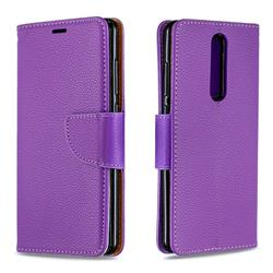 Classic Luxury Litchi Leather Phone Wallet Case for Nokia 5.1 - Purple