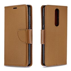 Classic Luxury Litchi Leather Phone Wallet Case for Nokia 5.1 - Brown