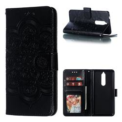 Intricate Embossing Datura Solar Leather Wallet Case for Nokia 5.1 - Black
