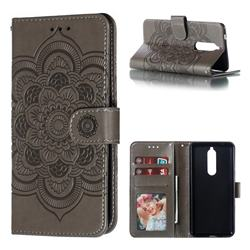 Intricate Embossing Datura Solar Leather Wallet Case for Nokia 5.1 - Gray