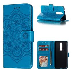 Intricate Embossing Datura Solar Leather Wallet Case for Nokia 5.1 - Blue