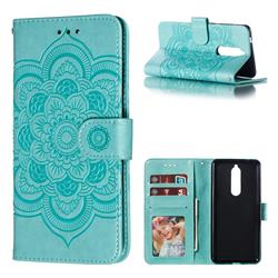 Intricate Embossing Datura Solar Leather Wallet Case for Nokia 5.1 - Green