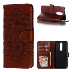 Intricate Embossing Datura Solar Leather Wallet Case for Nokia 5.1 - Brown