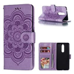 Intricate Embossing Datura Solar Leather Wallet Case for Nokia 5.1 - Purple