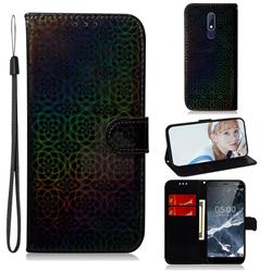 Laser Circle Shining Leather Wallet Phone Case for Nokia 5.1 - Black
