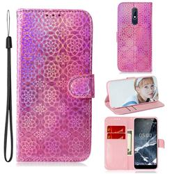 Laser Circle Shining Leather Wallet Phone Case for Nokia 5.1 - Pink