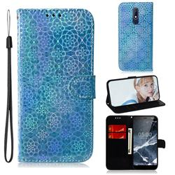 Laser Circle Shining Leather Wallet Phone Case for Nokia 5.1 - Blue