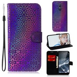 Laser Circle Shining Leather Wallet Phone Case for Nokia 5.1 - Purple