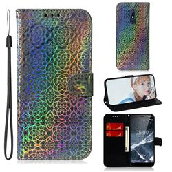 Laser Circle Shining Leather Wallet Phone Case for Nokia 5.1 - Silver