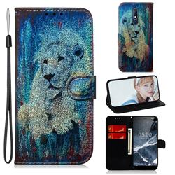 White Lion Laser Shining Leather Wallet Phone Case for Nokia 5.1