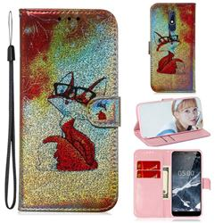 Glasses Fox Laser Shining Leather Wallet Phone Case for Nokia 5.1