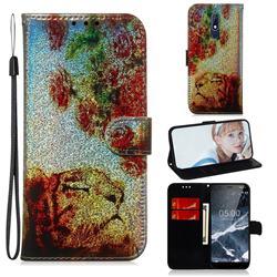 Tiger Rose Laser Shining Leather Wallet Phone Case for Nokia 5.1