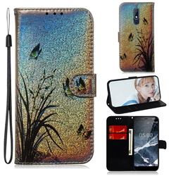 Butterfly Orchid Laser Shining Leather Wallet Phone Case for Nokia 5.1