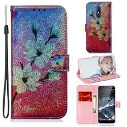 Magnolia Laser Shining Leather Wallet Phone Case for Nokia 5.1