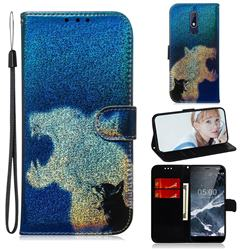 Cat and Leopard Laser Shining Leather Wallet Phone Case for Nokia 5.1