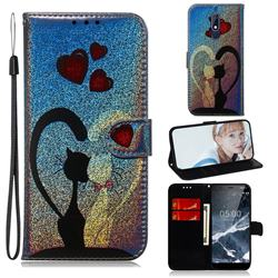 Love Cat Laser Shining Leather Wallet Phone Case for Nokia 5.1