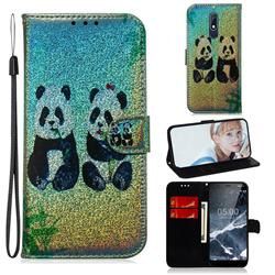Two Pandas Laser Shining Leather Wallet Phone Case for Nokia 5.1