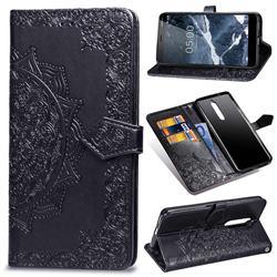 Embossing Imprint Mandala Flower Leather Wallet Case for Nokia 5.1 - Black
