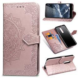 Embossing Imprint Mandala Flower Leather Wallet Case for Nokia 5.1 - Rose Gold