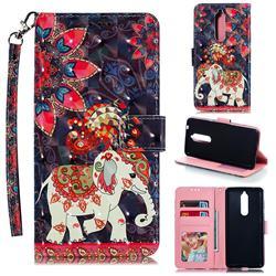 Phoenix Elephant 3D Painted Leather Phone Wallet Case for Nokia 5.1