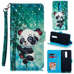 Cute Panda 3D Painted Leather Phone Wallet Case for Nokia 5.1