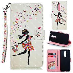 Flower Girl 3D Painted Leather Phone Wallet Case for Nokia 5.1