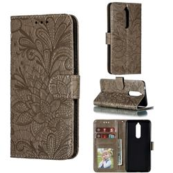 Intricate Embossing Lace Jasmine Flower Leather Wallet Case for Nokia 5.1 - Gray