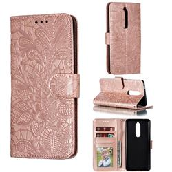 Intricate Embossing Lace Jasmine Flower Leather Wallet Case for Nokia 5.1 - Rose Gold