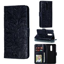 Intricate Embossing Lace Jasmine Flower Leather Wallet Case for Nokia 5.1 - Dark Blue
