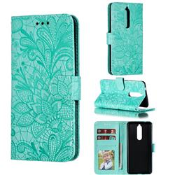 Intricate Embossing Lace Jasmine Flower Leather Wallet Case for Nokia 5.1 - Green