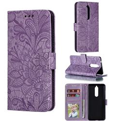 Intricate Embossing Lace Jasmine Flower Leather Wallet Case for Nokia 5.1 - Purple