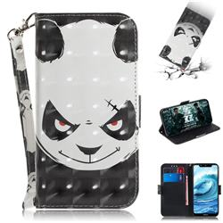 Angry Bear 3D Painted Leather Wallet Phone Case for Nokia 5.1 Plus (Nokia X5)