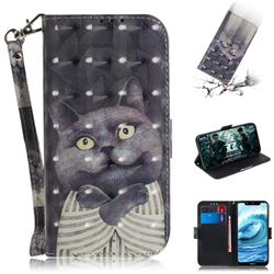 Cat Embrace 3D Painted Leather Wallet Phone Case for Nokia 5.1 Plus (Nokia X5)
