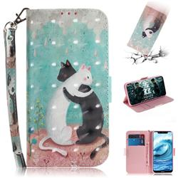 Black and White Cat 3D Painted Leather Wallet Phone Case for Nokia 5.1 Plus (Nokia X5)