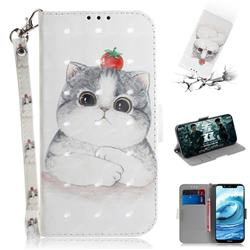 Cute Tomato Cat 3D Painted Leather Wallet Phone Case for Nokia 5.1 Plus (Nokia X5)