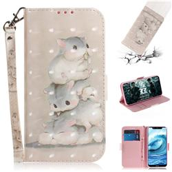 Three Squirrels 3D Painted Leather Wallet Phone Case for Nokia 5.1 Plus (Nokia X5)
