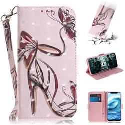 Butterfly High Heels 3D Painted Leather Wallet Phone Case for Nokia 5.1 Plus (Nokia X5)