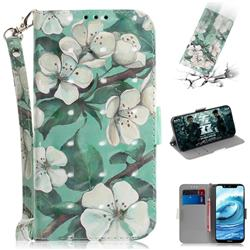 Watercolor Flower 3D Painted Leather Wallet Phone Case for Nokia 5.1 Plus (Nokia X5)