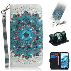Peacock Mandala 3D Painted Leather Wallet Phone Case for Nokia 5.1 Plus (Nokia X5)