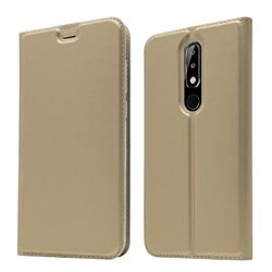 Ultra Slim Card Magnetic Automatic Suction Leather Wallet Case for Nokia 5.1 Plus (Nokia X5) - Champagne