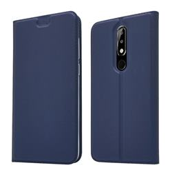 Ultra Slim Card Magnetic Automatic Suction Leather Wallet Case for Nokia 5.1 Plus (Nokia X5) - Royal Blue