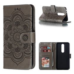 Intricate Embossing Datura Solar Leather Wallet Case for Nokia 5.1 Plus (Nokia X5) - Gray