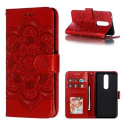 Intricate Embossing Datura Solar Leather Wallet Case for Nokia 5.1 Plus (Nokia X5) - Red